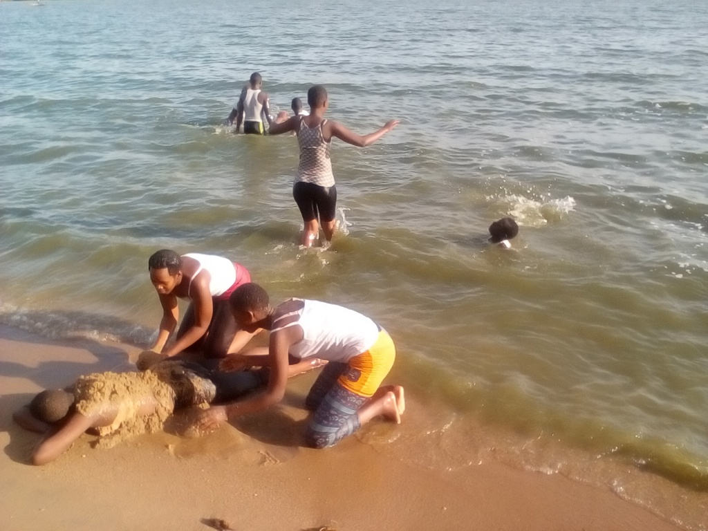 Cheery Students At Lake Victoria Bssk Uganda