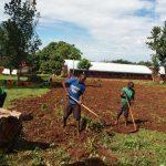 Gardening in the compound - Gartenarbeit auf dem Schulgelände